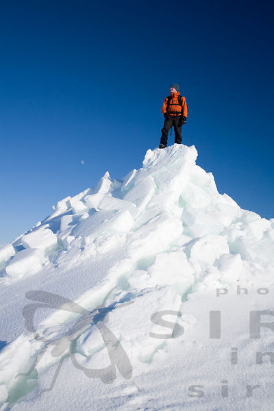Winter Hiker on Top of the Pack Ice
