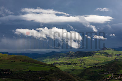 Storm over the Madonie Mountains as seen from Gangi