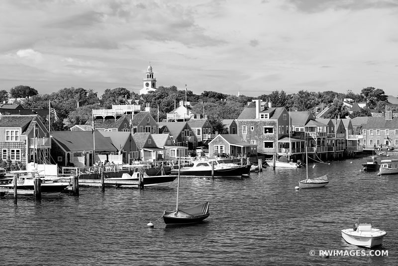 NANTUCKET ISLAND HARBOR MASSACHUSETTS BLACK AND WHITE NANTUCKET