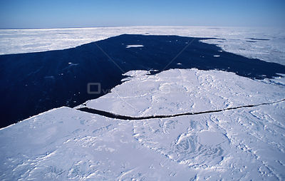 Aerial view of broken ice fields, St Lawrence stream, Magdalen Islands, Canadian Arctic