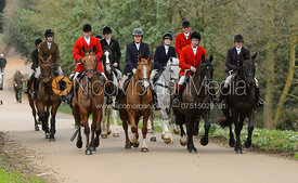 Belvoir Hunt Masters arriving at the meet - The South Shropshire and Belvoir Hunts at Belvoir Castle 11/3/17
