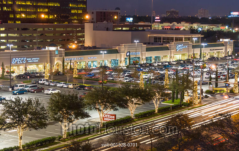 The Plaza on Richmond Shopping Center at night