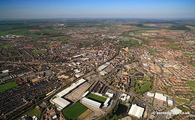 aerial photograph of  Mansfield Nottinghamshire England UK