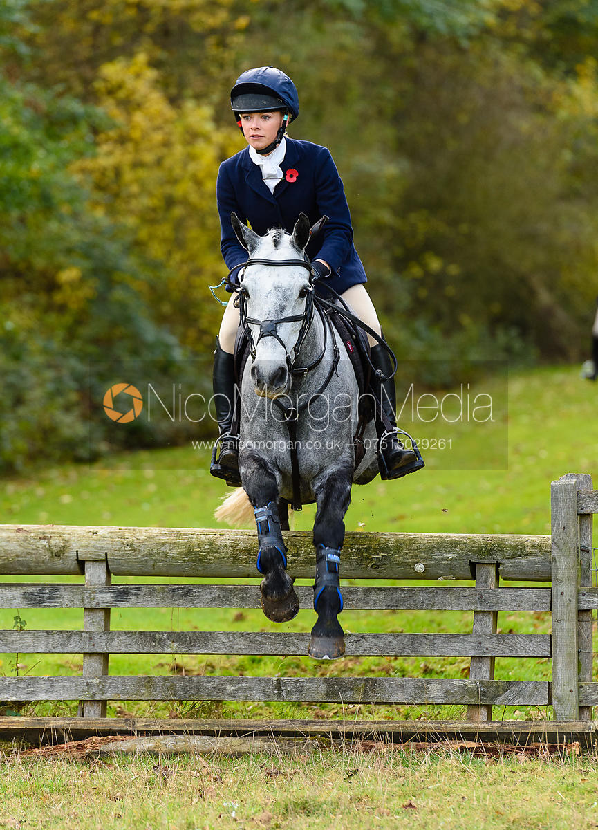 Gemma Redrup jumping a hunt jump near Milton Hall.