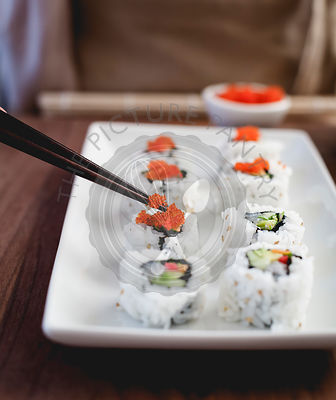 Sushi with tobiko roe.