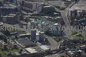 Leeds aerial photograph of the Marsh Lane and Crown Point road area with the River Aire and Clarence dock in the background