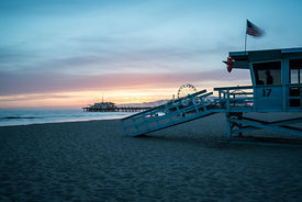 Santa Monica Pier and Lifeguard Tower 17 at Sunset