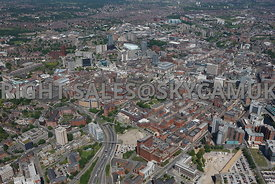 Leeds high level aerial photograph looking across Wellington Street towards First Direct Arena Merrion shopping centre Merrio...