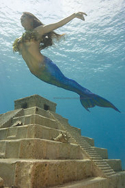 Mermaid near Mayan Temple replica off west side of Cozumel, Mexico.