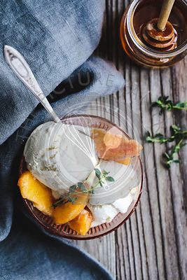 Honey & Lemon Thyme Ricotta Ice Cream with Vanilla Peaches