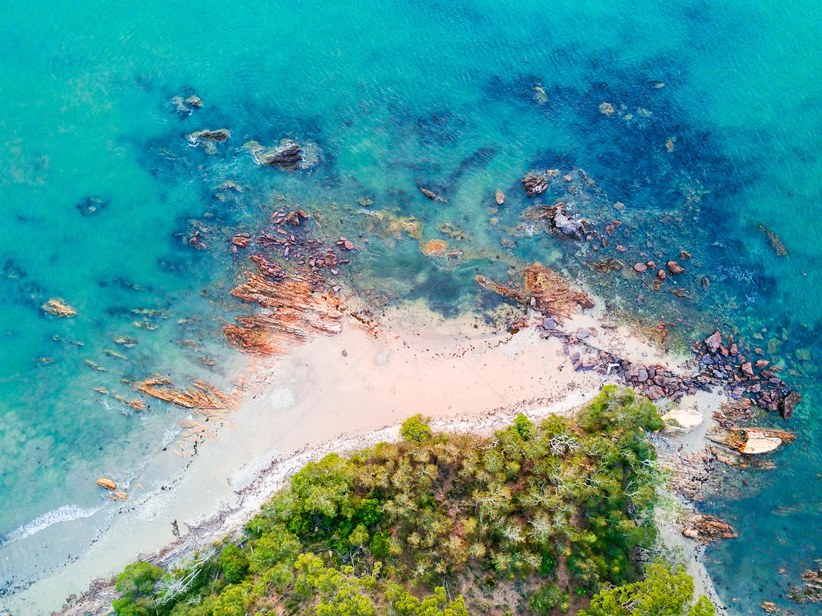 Aerial views of coastal shorelines at Maloneys Beach Australia