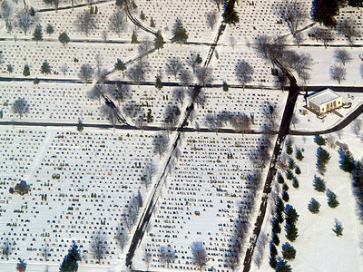 A cemetery in Stratford, Ontario in winter