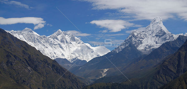 NEPAL Everest Region -- Panorama showing Mount Everest (left), Mount Lhotse, Mount Lhotse Shar (centre left) and Mount Ama Da...