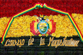 Detail of floral tribute in colours of the Bolivian national flag from the Counsel of Magistrates,  Dia del Mar / Day of the ...