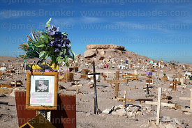 Grave of Chiquitin the dog at pet cemetery in Atacama Desert near Calama, Region II, Chile