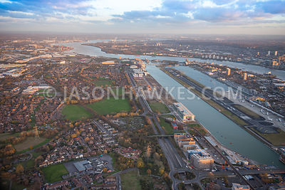 Aerial view of London, The Royal Docks and River Thames.