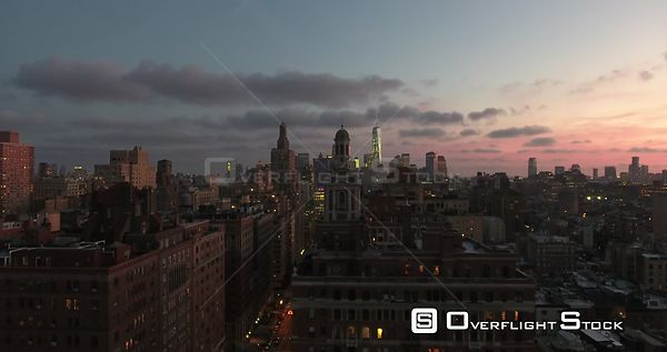 Drone Video Dusk NYC Manhattan from 5th and 12th