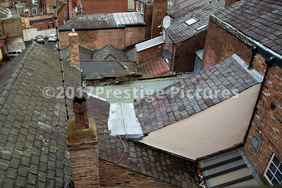 Old Rooftops of shops and houses in Stockport, Manchester