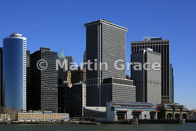 Part of Lower Manhattan skyline as seen from the Staten Island Ferry, from the south, New York, USA