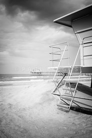 Stormy Huntington Beach Black and White Photo