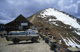 60 Series Toyota Land Cruiser and glacier on Mt Chacaltaya, Cordillera Real, Bolivia