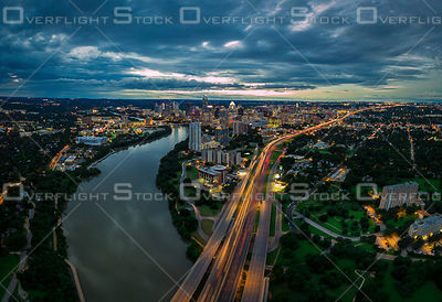 Late Evening Dramatic View of Downtown Austin Texas