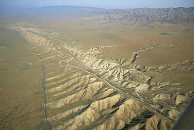 Aerial view of the San Andreas Fault, California, USA, 1994