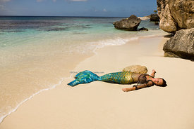 Dutch mermaid on beach, Slagbaii National Park, Bonaire, Netherland Antillies