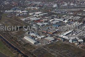 Widnes aerial photograph of Moss Bank and Saffil Ltd on Sullivan road looking across Moss Bank road towards Tanhouse Lane