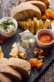 cheese platter served with ciabatta bread