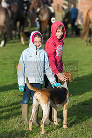Young followers with a Belvoir foxhound