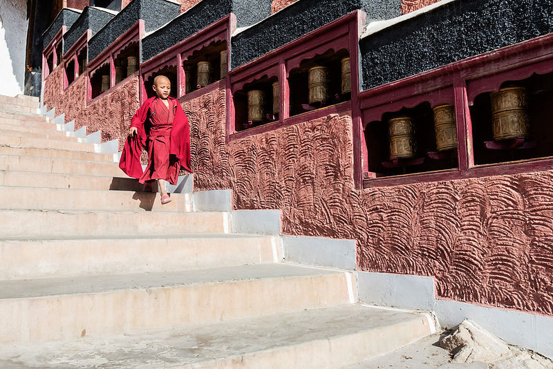 Novice Monk Running Down Steps at Thiksey Monastery