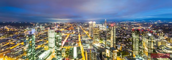 Panoramic skyline of Frankfurt at night, Germany