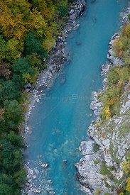 Tara River viewed from bridge, Tara Canyon, Durmitor NP, Montenegro, October 2008