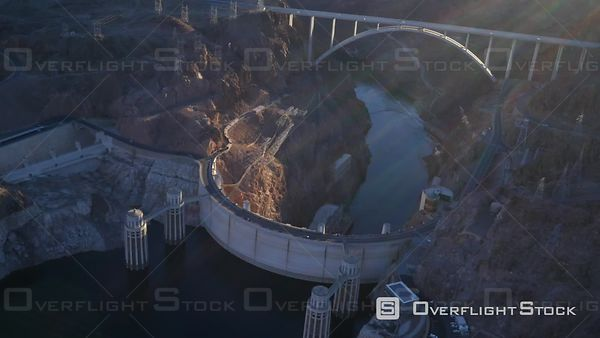 Las Vegas, Nevada, USA  Aerial Footage of Hoover Dam and Colorado River Bridge