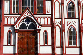 Detail of entrance facade of San Marcos church, Plaza Colon, Arica, Region XV, Chile