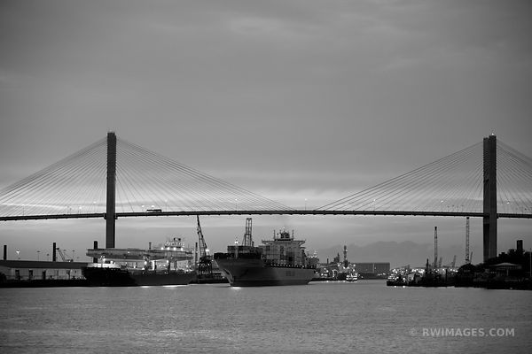 TALMADGE MEMORIAL BRIDGE SAVANNAH GEORGIA BLACK AND WHITE