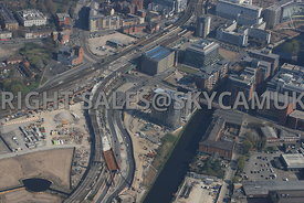 Trinity Way and the construction of the Salford Chord Rail link and New Bailey Street developments next to the river Irwell S...