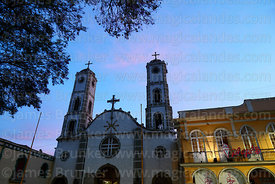 San Ildefonso church (home of the Virgen de Urkupiña) at sunset, Quillacollo, Bolivia