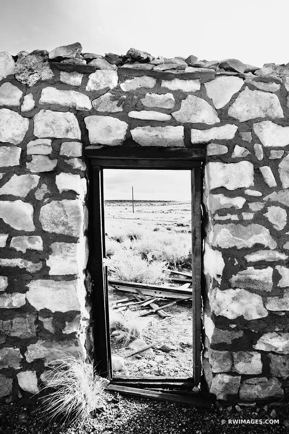 DOOR TO THE DESERT ROUTE 66 ARIZONA BLACK AND WHITE VERTICAL