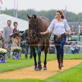 Piggy French and WESTWOOD MARINER - The first vets inspection (trot up),  Land Rover Burghley Horse Trials, 3rd September 2014.