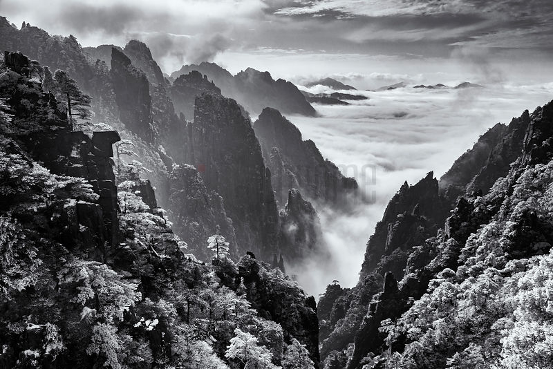 "Elevated View of the ""Grand Canyon"" of the Huangshan Mountains"