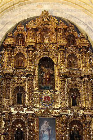 Altar screen of La Compañia de Jesus church , Arequipa , Peru