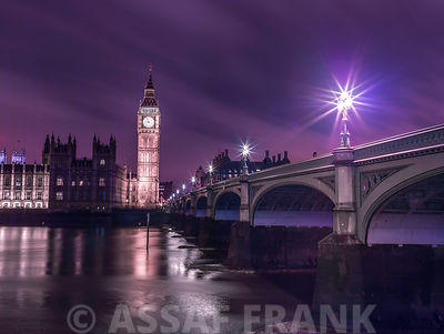 Big ben and westminster bridge at night, London