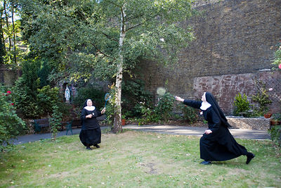 Nuns playing badmintion