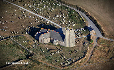 Tintagel Parish Church aerial photograph