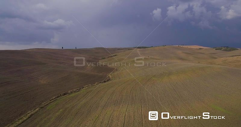 Aerial, beautiful view on tuscan fall landscape on a rainy day in Italy