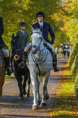 Monica Tebbut-Wheat arriving at the meet at Preston Lodge - Opening Meet 2016