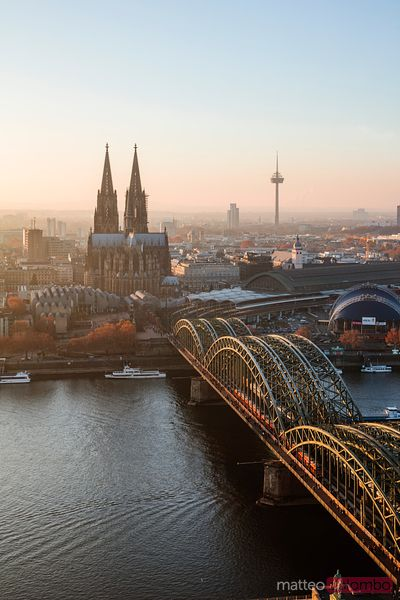 Cologne cathedral and city at sunset, Germany