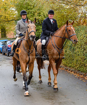 Anna Hanson, Nick Townsend leaving the meet. The Cottesmore Hunt at Braunston
